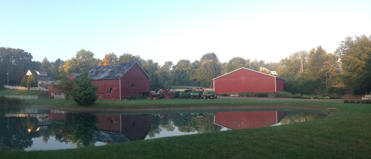 red barn next to a pond